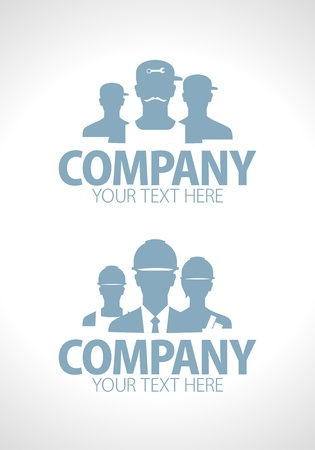 Builders and repairers team silhouette designs Vector