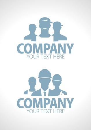 company background: Costruttori e riparatori di squadra disegni silhouette Vettoriali