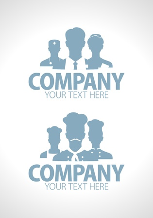 picto: Doctors and cooks teams silhouette design