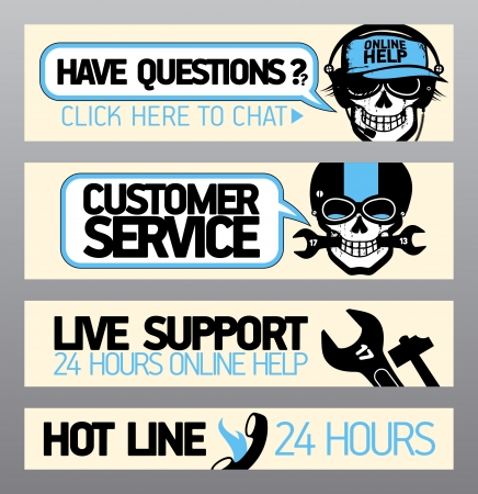 call center agent: Customer service support banners with skull