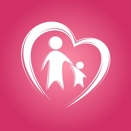 Kid and parent in heart icon. Vector