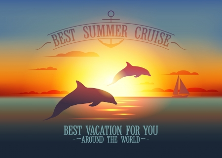 Best summer cruise design template with dolphins at sunset Vector