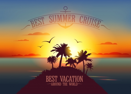luxury travel: Plantilla de dise�o de crucero de verano mejor con puesta de sol paisaje tropical Vectores