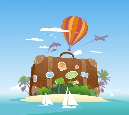 luxury travel: Huge suitcase on a tropical island  Travel design template  Illustration