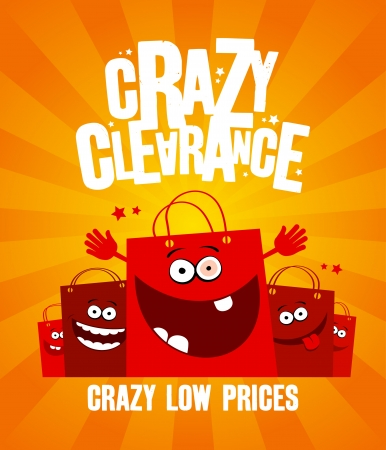 Funny shopping bags, crazy clearance banner Vector