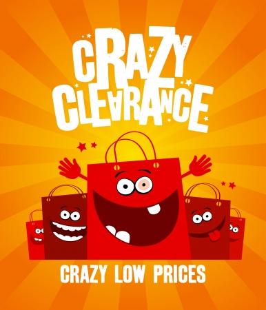 crazy people: Lustige Einkaufstaschen, verr�ckt Clearance banner Illustration