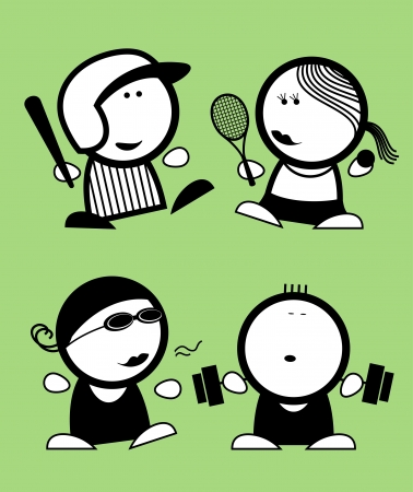 powerlifting: Set of sports funny peoples icons