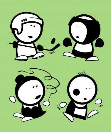 Set of sports funny peoples icons  Vector