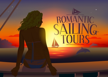 Romantic tours design template with relaxing woman silhouette and dolphins at sunset Vector