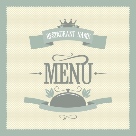 expensive food: Retro restaurant menu card design template