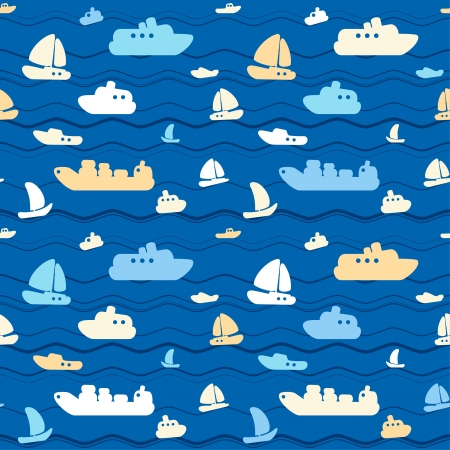 Child seamless pattern with cute boats and sea Vector