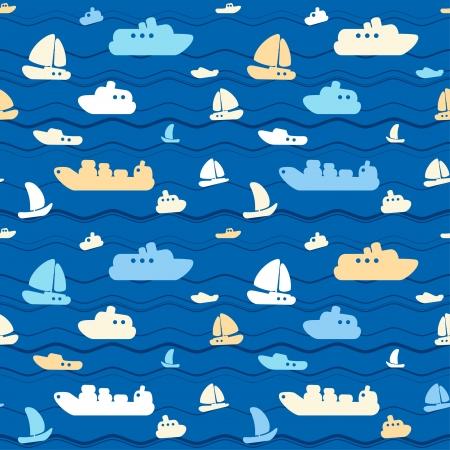 nautical pattern: Child seamless pattern with cute boats and sea