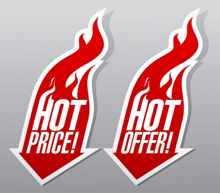 hot price: Hot offer,hot price fiery symbols. Illustration