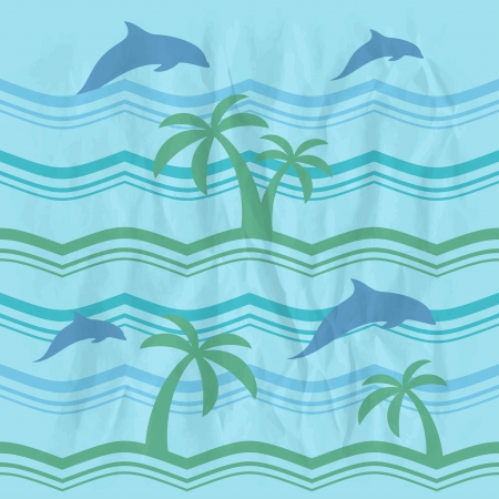 Retro seamless pattern with dolphins and sea Vector