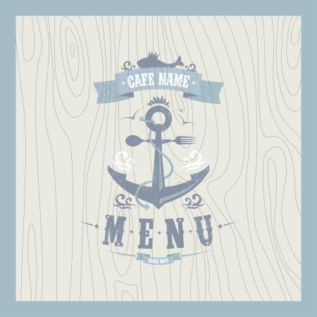ancre marine: Rétro conception de carte de menu de restaurant de fruits de mer