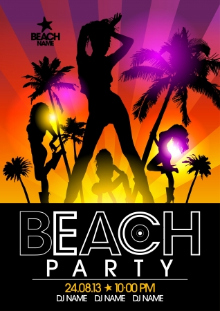 club flyer: Beach Party design template with fashion girls in the rays of light Illustration