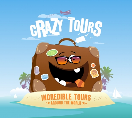 Crazy tours design with funny suitcase on a tropical island  Vector