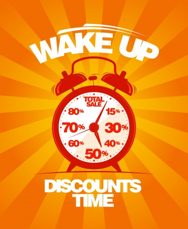 Wake up, discounts time  Sale design template with alarm clock  Vector