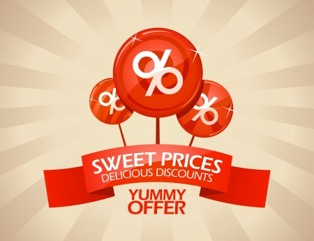 incredible: Sweet prices, delicious discounts design template  Illustration
