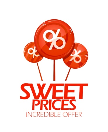 incredible: Sweet prices design with lollipops  Illustration