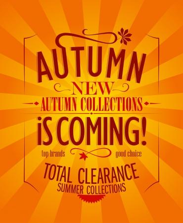 Jesień zbliża się projekt reklama, styl retro.