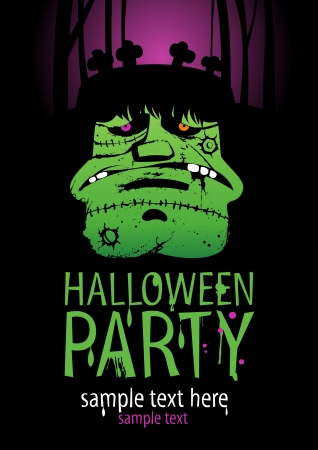 Halloween Party Design template, with Frankenstein.
