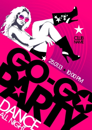 shows: Go-go party design template with fashion girl and place for text. Illustration