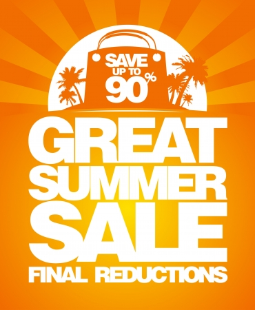 ropa de verano: Venta de verano plantilla de dise�o final con bolsa de compras. Vectores