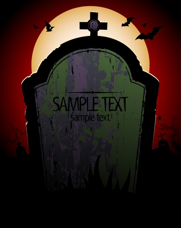 Halloween background with tomb and place for text. Illustration