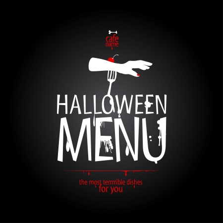 dinner dish: Halloween Menu Card Design template.