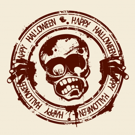 intertainment: Happy Halloween rubber stamp with zombie.