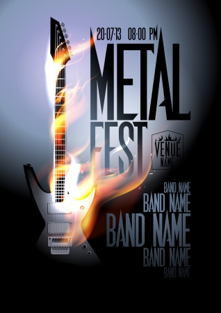 Metal fest design template with burning guitar and place for text. Vector