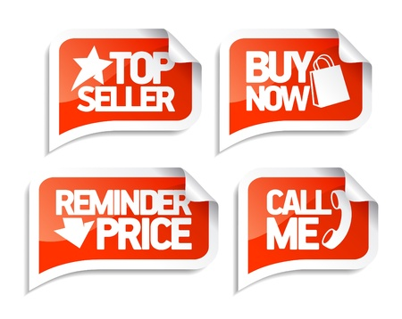 call me: Seller speech bubbles set for online markets.