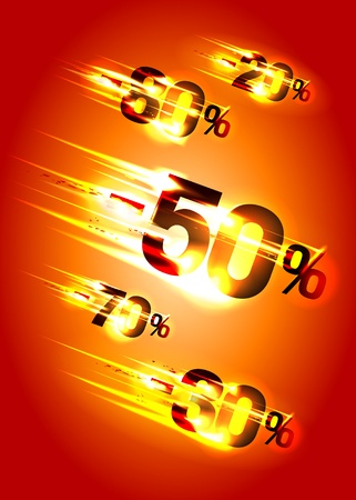 Meteor rain discounts, sale background. Vector