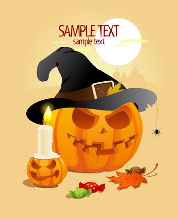 Halloween pumpkins design template.