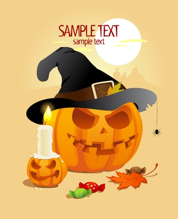 Halloween pumpkins design template. Vector
