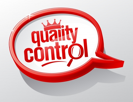 inspected: Quality control redspeech bubble