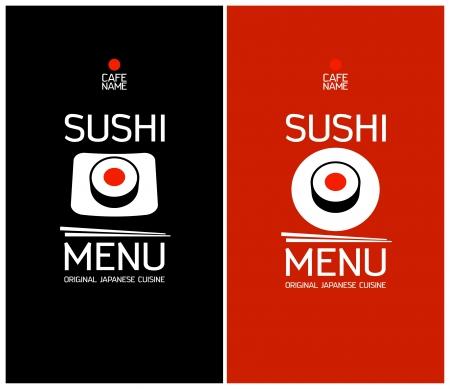 dl: Sushi menu cards design template.