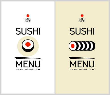dl: Sushi menu cards design template.