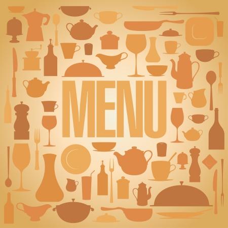 Retro restaurant menu with utensil card design template. Vector