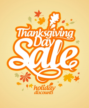 retail sales: Thanksgiving Day sale design template. Illustration