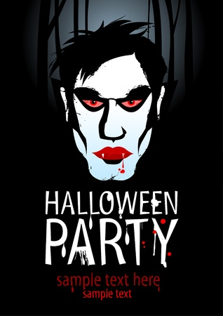 Halloween Party Design template with vampire. Vector
