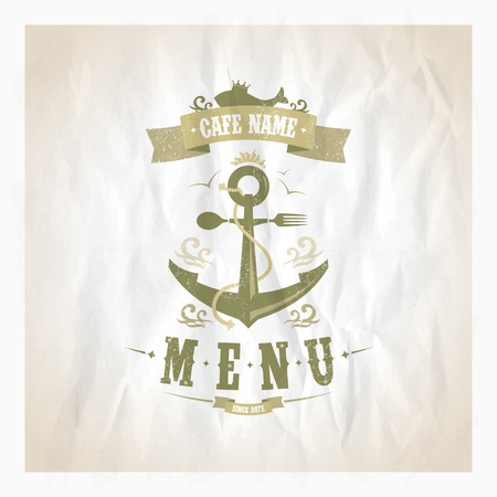 Restaurant seafood menu card. Eps10 Vector