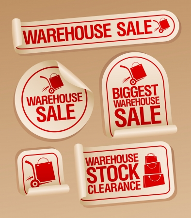 ollection: Warehouse sale stickers with hand truck. Illustration
