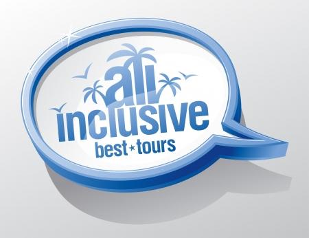 inclusive: All inclusive shiny glass speech bubble