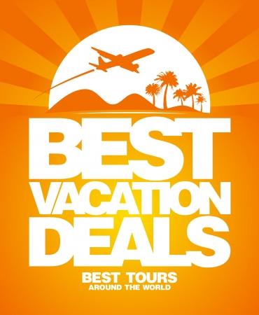 vacation summer: Best vacation deals advertising design template.