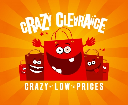 red retail: Crazy clearance design template with funny shopping bags