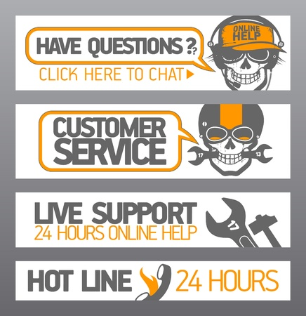 Customer support designs with skull Vector