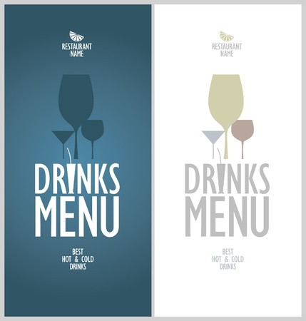 Drinks menu cards design template. Vector