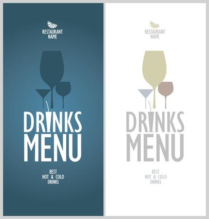 dl: Drinks menu cards design template.